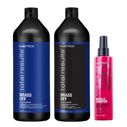 Matrix Total Results Brass Off Shampoo & Conditioner and Miracle Creator 200ml