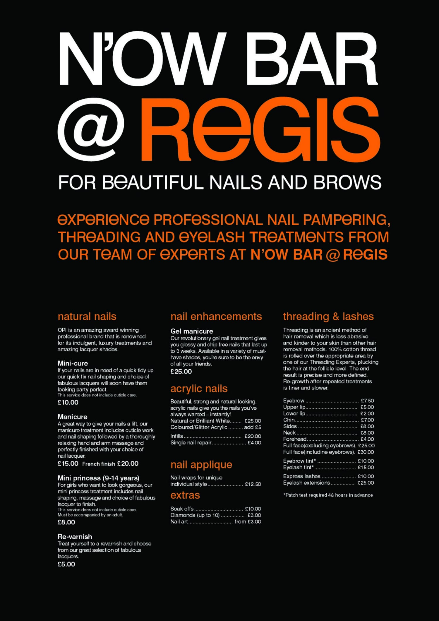 Professional nail pampering at the n 39 ow bars regis for Academy for salon professionals price list
