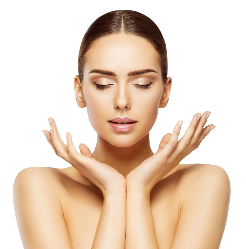 Woman Face Hands Beauty, Skin Care Makeup Eyes Closed, Beautiful Natural Make Up, Isolated over White background