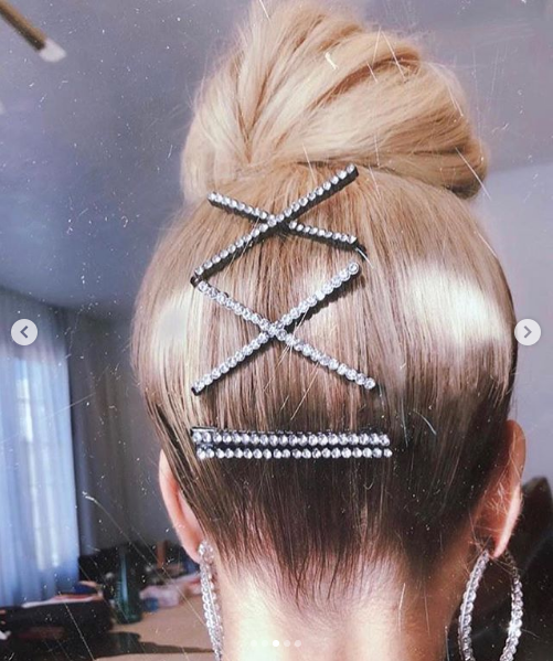 Khloe Kardashian updo with embellished accessories