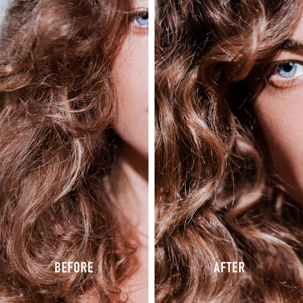Kerastase 8H Magic Night Serum Before and After Curly Brunette