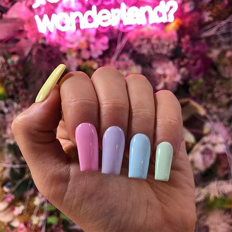 Multi-colour pastel nails