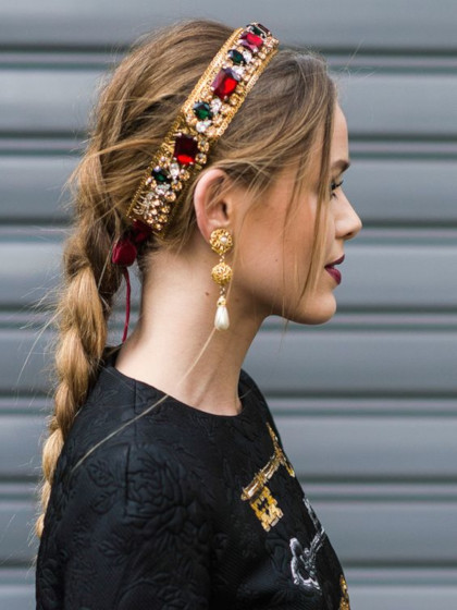 Embellished glam headband with braid