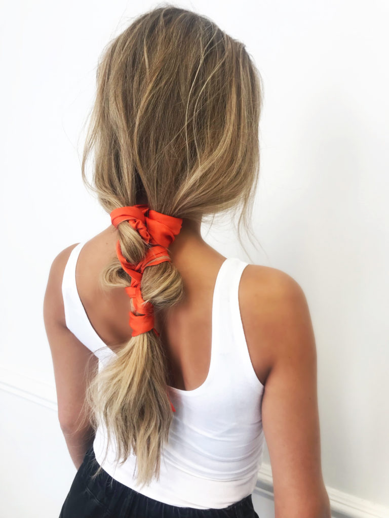 orange hair scarf twisted ponytail
