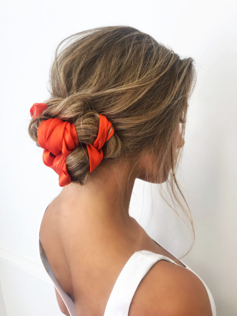 orange hair scarf wrapped up bun