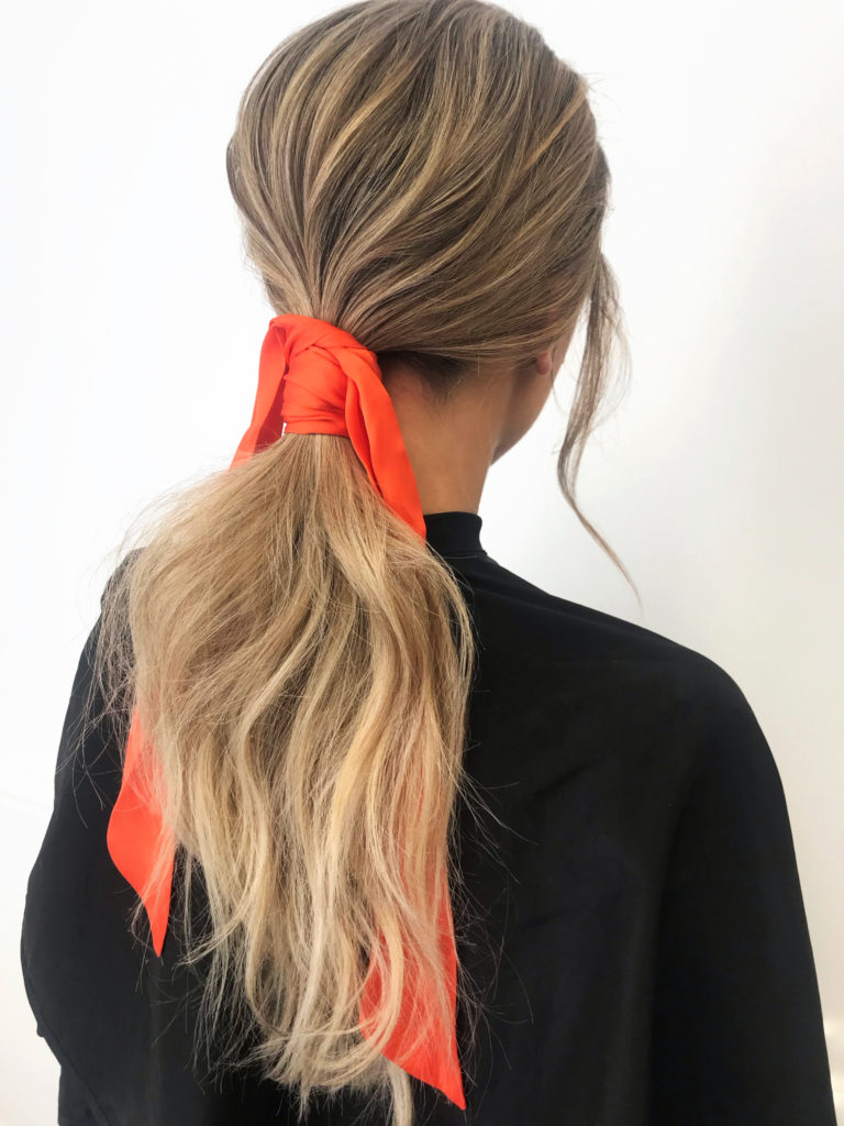 orange hair scarf wrap around ponytail