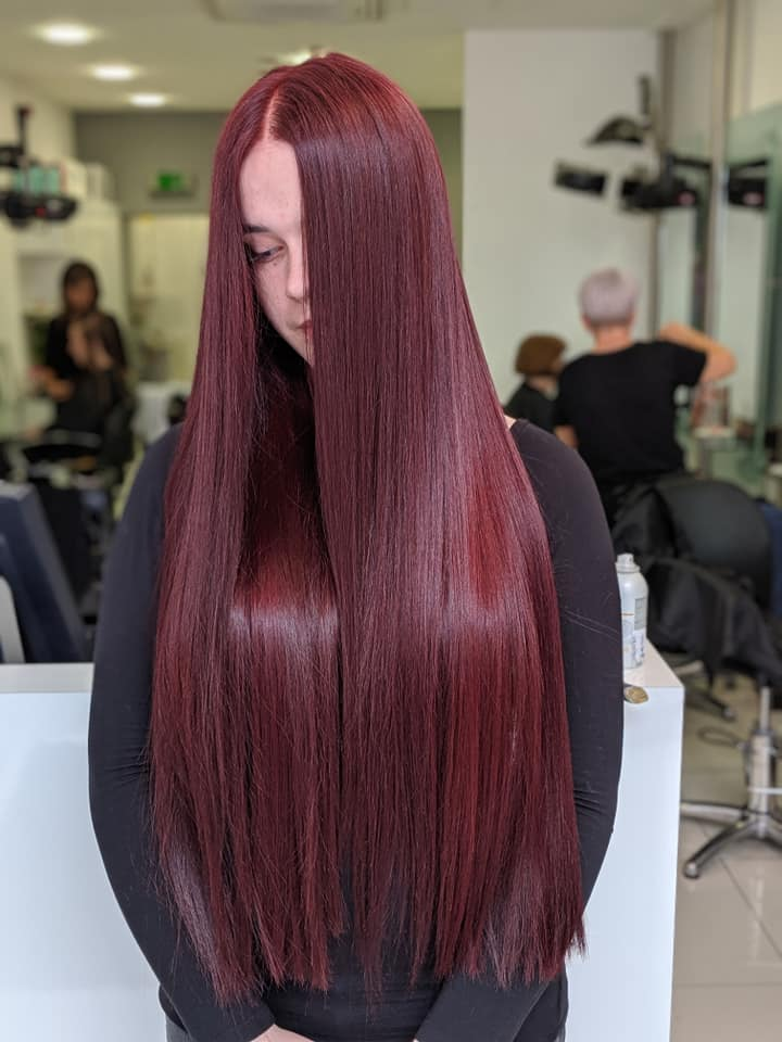 Paolo stylist Birmingham Regis salon long mulled wine coloured hair