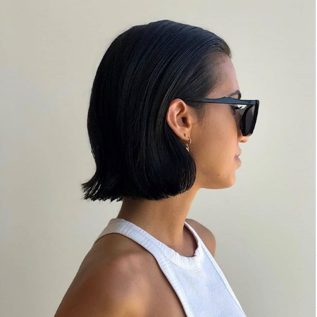 ghd instagram short black bob slick back style