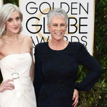 jamie lee curtis annie guest grey hair golden globes 2016