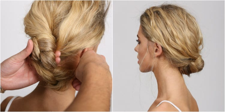 regis party hairstyles knotted chignon how to final